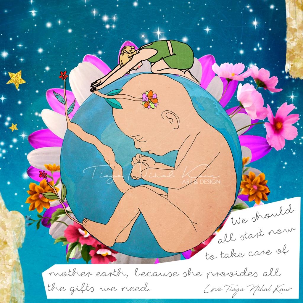 Mother Earth, mindfulness, Kundalini, Kundalini Yoga, Yoga Art, Yoga, Awakening, Illustration, Kundalini Yoga Teacher, Artist, Illustrations, Watercolor, Design, Digital, Mindful, Mindful Heartworks, Oslo, Norge, Metta Yoga, Metta Yoga Art, Tiaga Nihal Kaur,